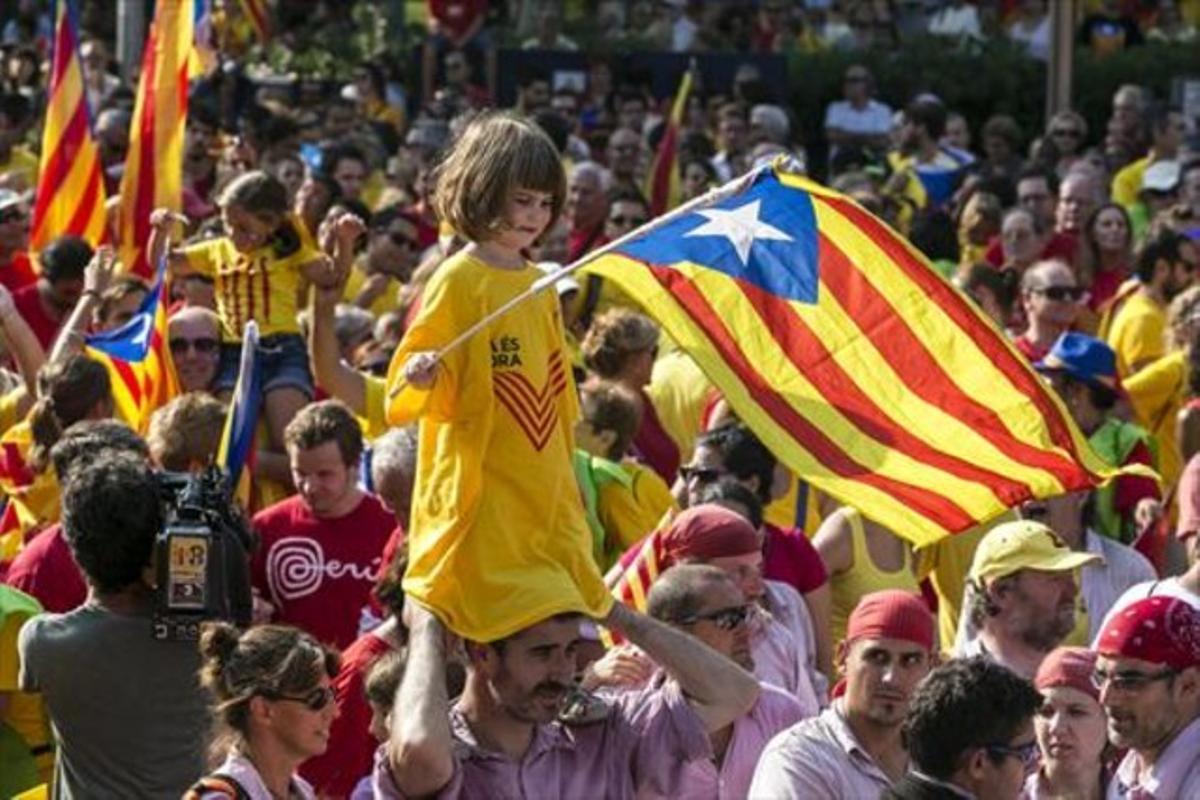 Participantes en la manifestación del 11-S del 2014 en Barcelona.
