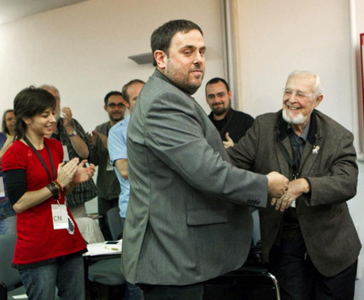 El candidato de ERC a la Generalitat, Oriol Junqueras, tras ser proclamado por el consejo nacional del partido nuevo cabeza de lista.