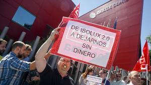 Trabajadores de Isolux en una protesta de 2017 por la situación de la empresa.