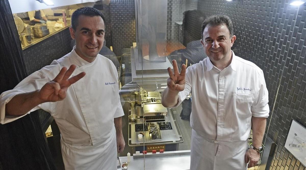 Paolo Casagrande y Martín Berasategui homenajean las tres estrellas Michelin.