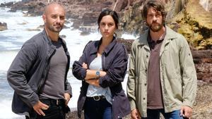 Alain Hernández, Megan Montaner y Félix Gómez, protagonistas de 'La caza. Tramuntana'.