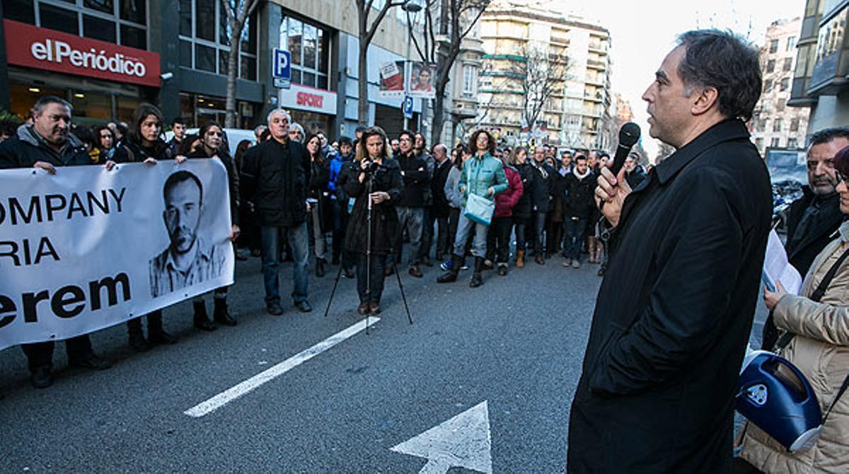 Concentración para pedir la liberación de Marc Marginedas, cuando se cumplen cinco meses de su secuestro en Siria.