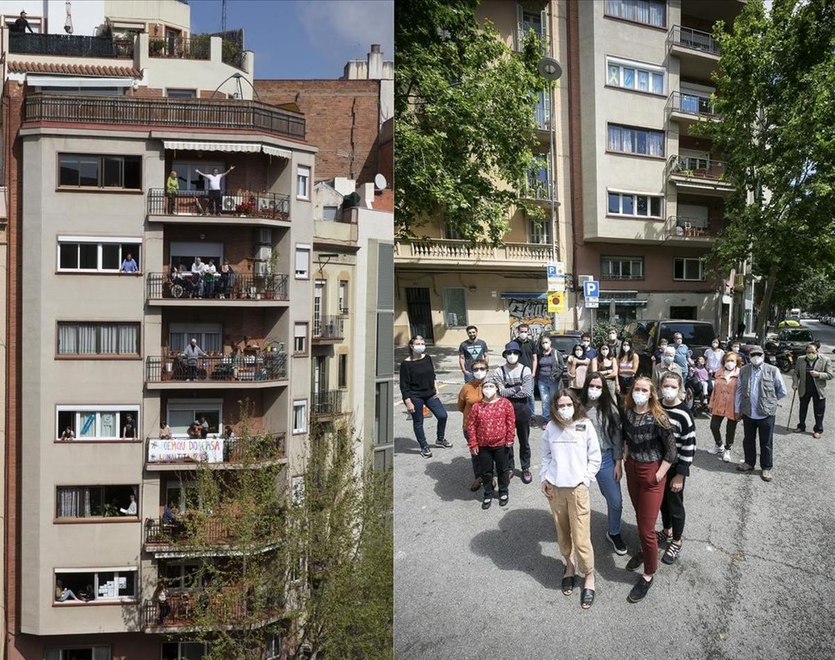 Los vecinos de la finca situada en la calle Provença, 501, posaron al estilo de la comunidad '13, Rue del Percebe' durante el encierro. Dos meses después, se prestaron a que EL PERIÓDICO ilustrara su salida a la calle. «El confinamiento nos unió como vecinos. Pasamos de un simple 'hola' a un '¿necesitas algo?'», señala Danny Caminal, vecino y el fotógrafo del diario que organizó las tomas.