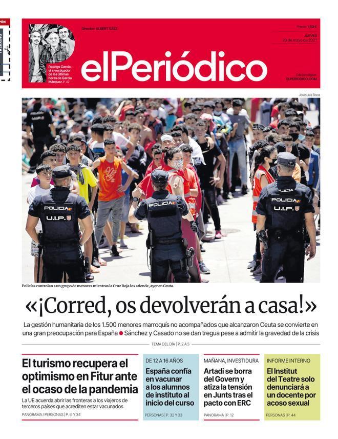 La portada d'EL PERIÓDICO del 20 de maig del 2021