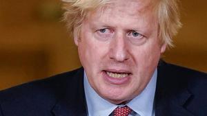 El primer ministro británico, Boris Johnson, durante la rueda de prensa que ha ofrecido este lunes.