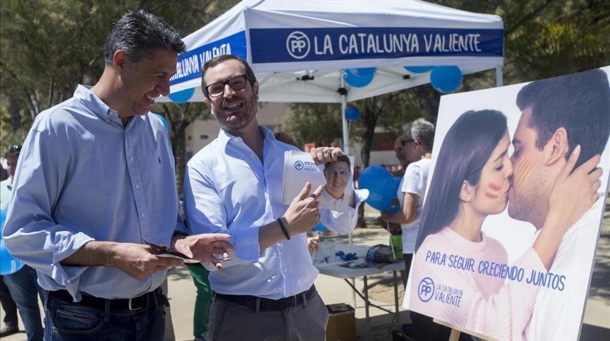 Javier Maroto y Xavier García Albiol, este domingo, en Badalona.