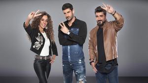 Rosario, Melendi y Antonio Orozco, los 'coachs' del concurso de Tele 5 'La voz kids'.