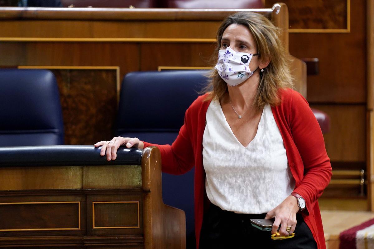 Teresa Ribera durante el pleno del Congreso celebrado hoy.