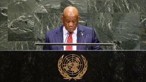 El primer ministro de Lesoto Thomas Motsoahae Thabane hablando en la Asamblea General de las Naciones Unidas.