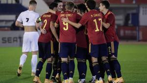 Los jugadores de la selección española sub-21 celebran uno de los goles ante Israel.