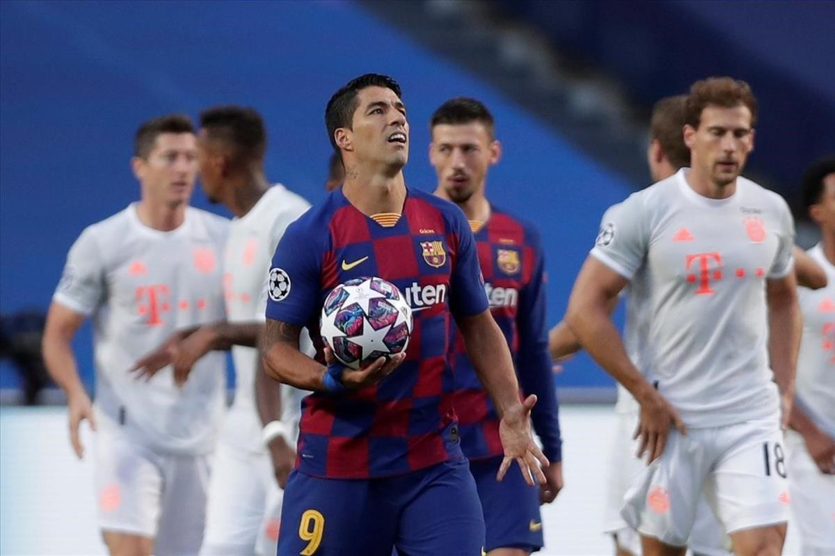 Luis Suárez tras el primer tanto del Bayern