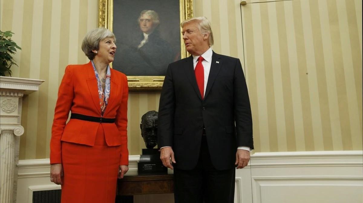 Trump y May, durante su encuentro en el Despacho Oval, en la Casa Blanca, el 27 de enero.