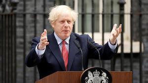 El primer ministro, Boris Johnson, en una rueda de prensa.