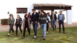 El Gobierno de coalición PSOE-Unidas Podemos al completo, el pasado 8 de febrero, en Quintos de Mora, en Castilla-La Mancha.