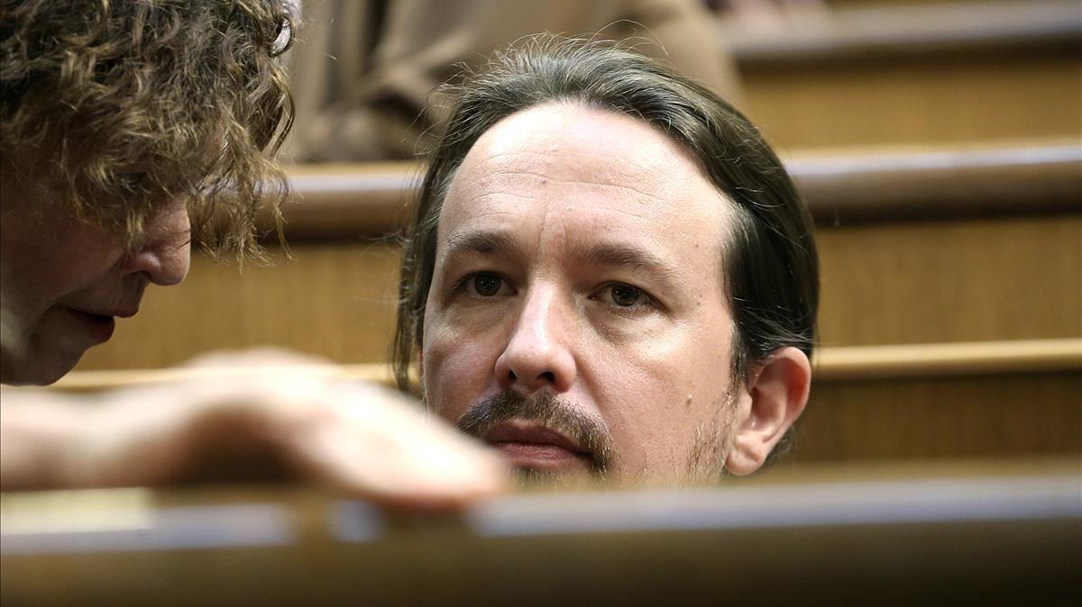 Pablo Iglesias, en la última jornada de la sesión de investidura.
