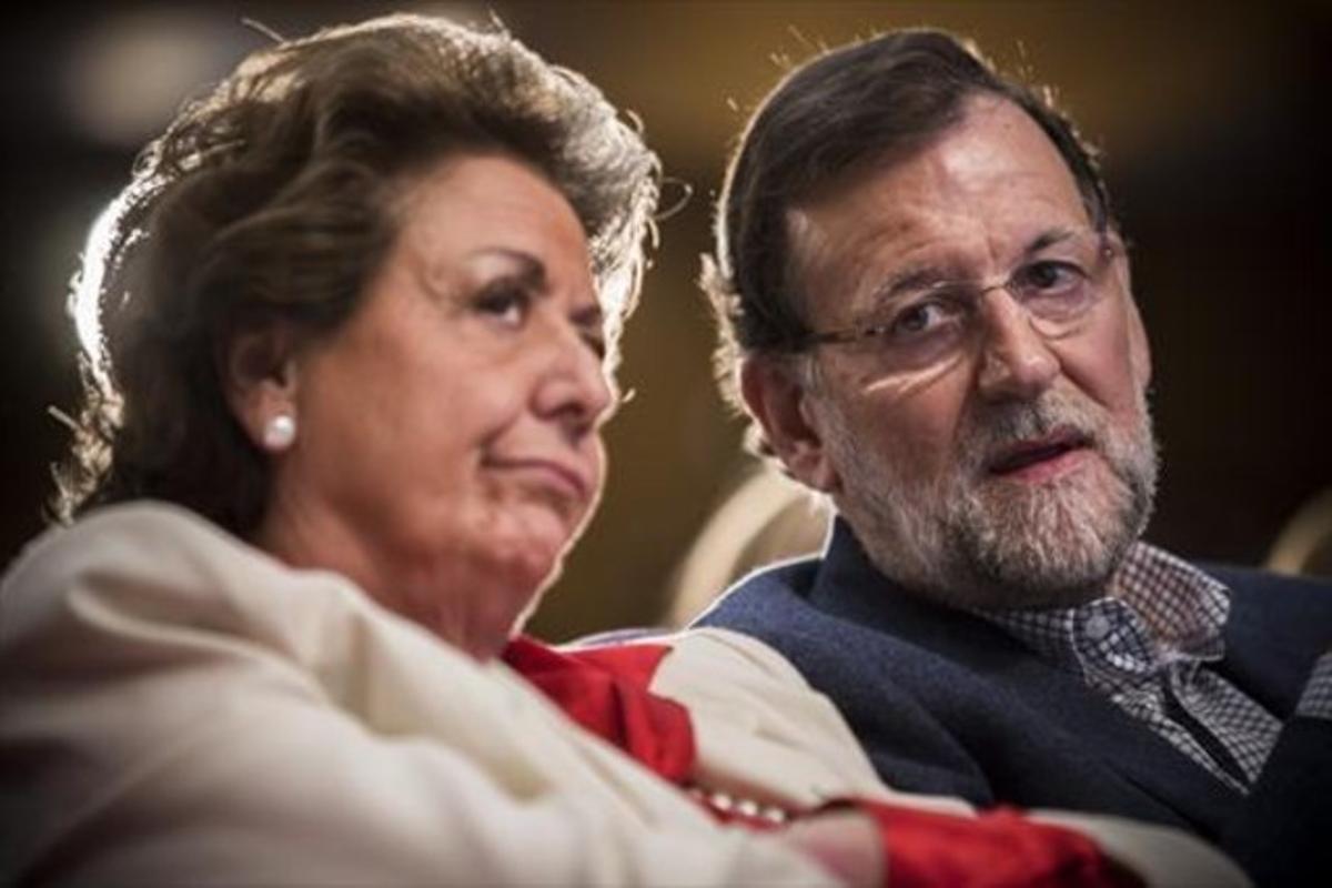 Barberá y Rajoy, en un acto del partido en Valencia, en marzo del 2015.