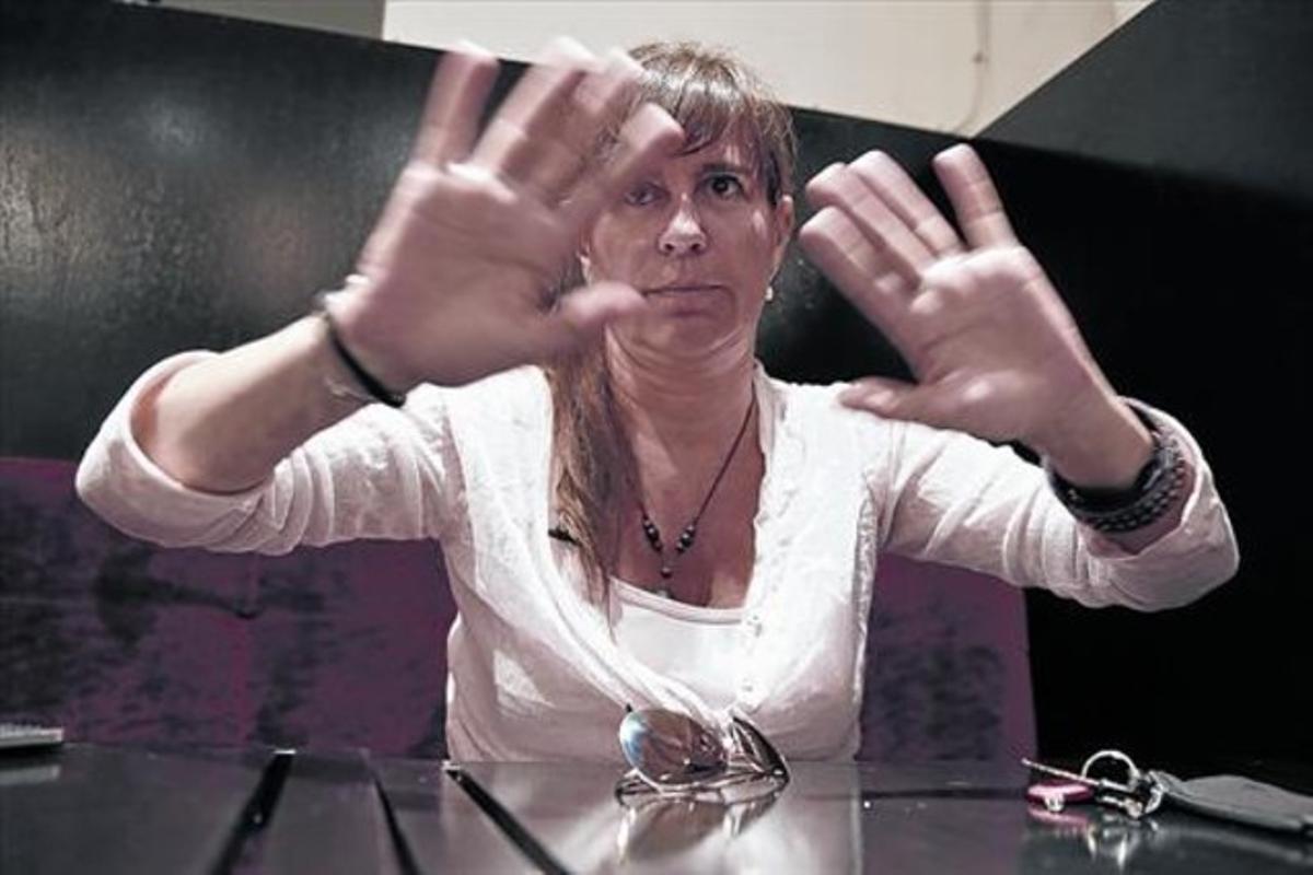 Victoria Álvarez, el pasado mes de julio en un restaurante de Barcelona.