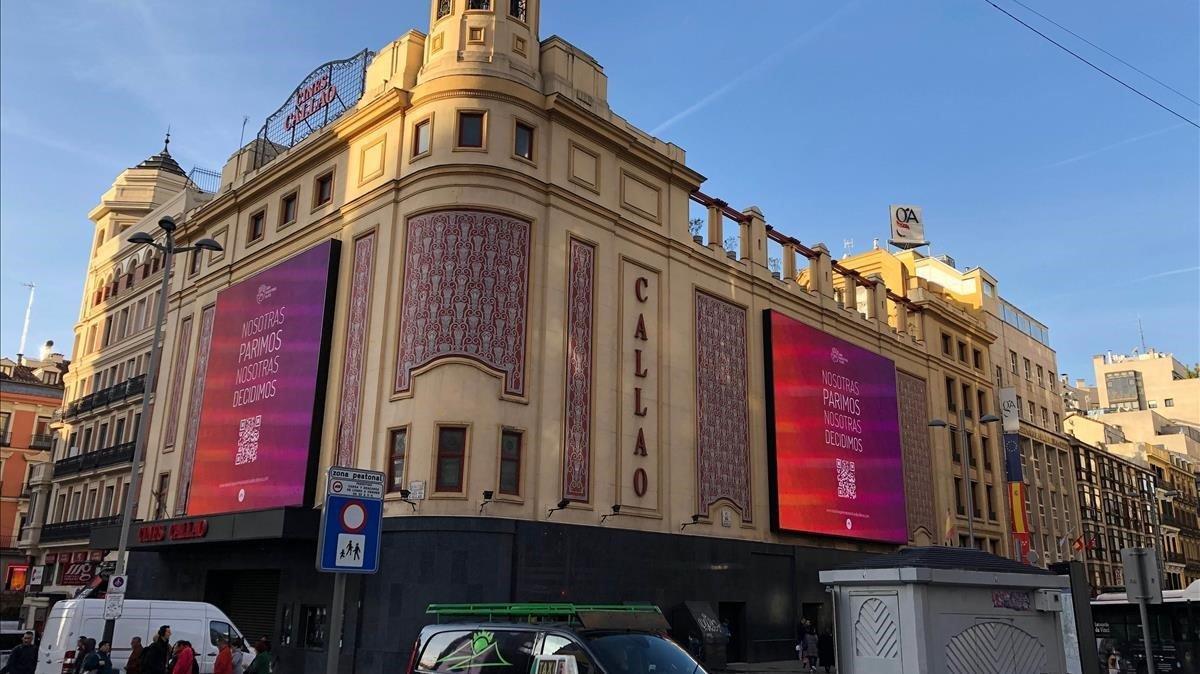Campaña 'Nosotras parimos, nosotras decidimos' en Callao, Madrid