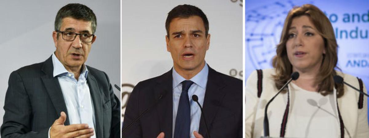Patxi López, Pedro Sánchez y Susana Díaz, los tres precandidatos a las primarias del PSOE.