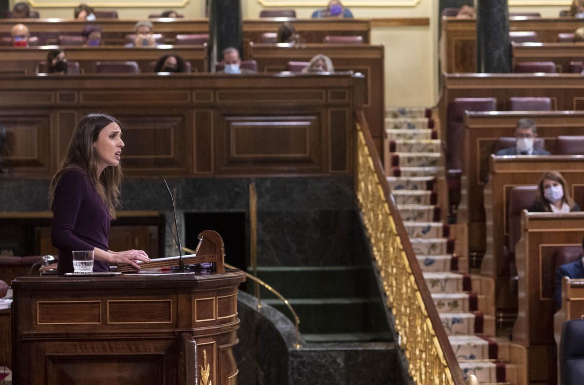 La ministra de Igualdad, Irene Montero, durante el debate de la ley 'sólo sí es sí'