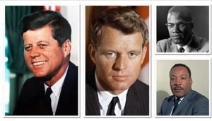 Magnicidios cometidos entre 1963 y 1968: John y Robert Kennedy, Malcolm X y Martin Luther King.