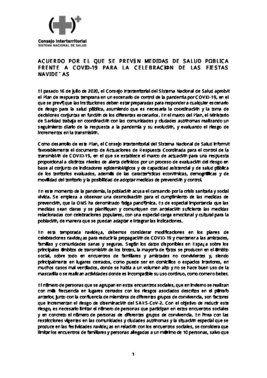 Medidas consensuadas entre las comunidades autónomas y el Ministerio de Sanidad sobre la pandemia en Navidades.