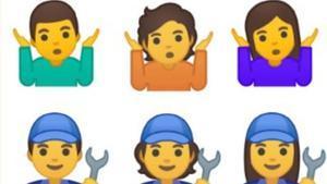 Arriba, 'emoji' de dudao resginación. A la izquierda un hombre, a la derecha, una mujer y en el centro, el de género ambiguo. Debajo, lo mismo con fontaneros.