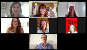 De izquierda a derecha, Isabel Córdova (WstartupC), Agustina Barbaresi (BYZness), Ana Pérez (Canard Drones), Dácil Borges (Click That Matters / Parkifast), Carmen Belnárdez Lara (Innovación y co creación para el desarrollo), Teresa Alarcos (WstartupC) y Elena Ibáñez (Singularity Experts).