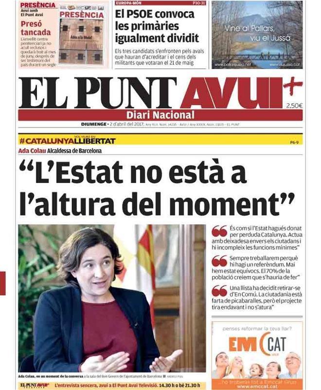 """Ada Colau: """"Es como si el Estado hubiese dado por perdida a Catalunya"""""""