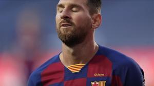 Messi se lamenta en Lisboa en el duelo ante el Bayern de la Champions.
