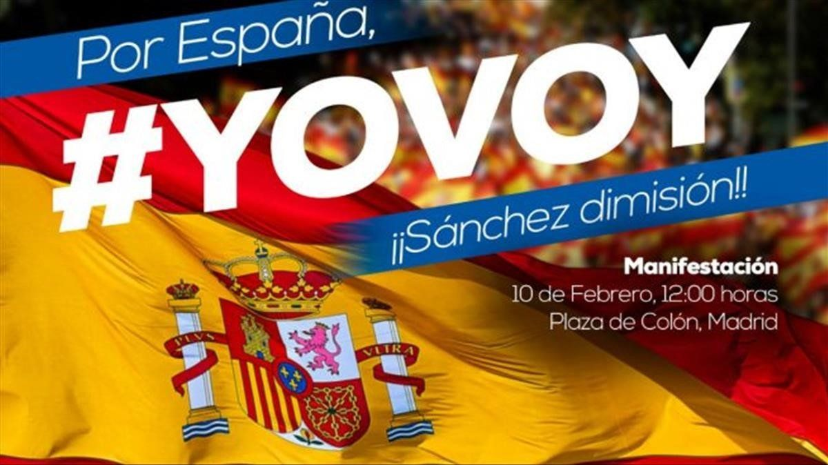 Campaña para informar de la manifestación convocada este domingo contra el presidente del Gobierno, Pedro Sánchez.