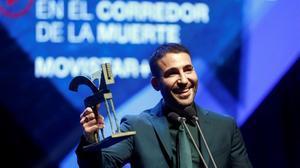 Miguel Angel Silvestre recibe el Premio Ondas nacional de television al mejor interprete masculino en ficcion porEn el corredor de la muertedurante la ceremonia de entrega de la 66º edicion de los Premios Ondas 2019, este jueves,en el Gran Teatre del Liceu de Barcelona.