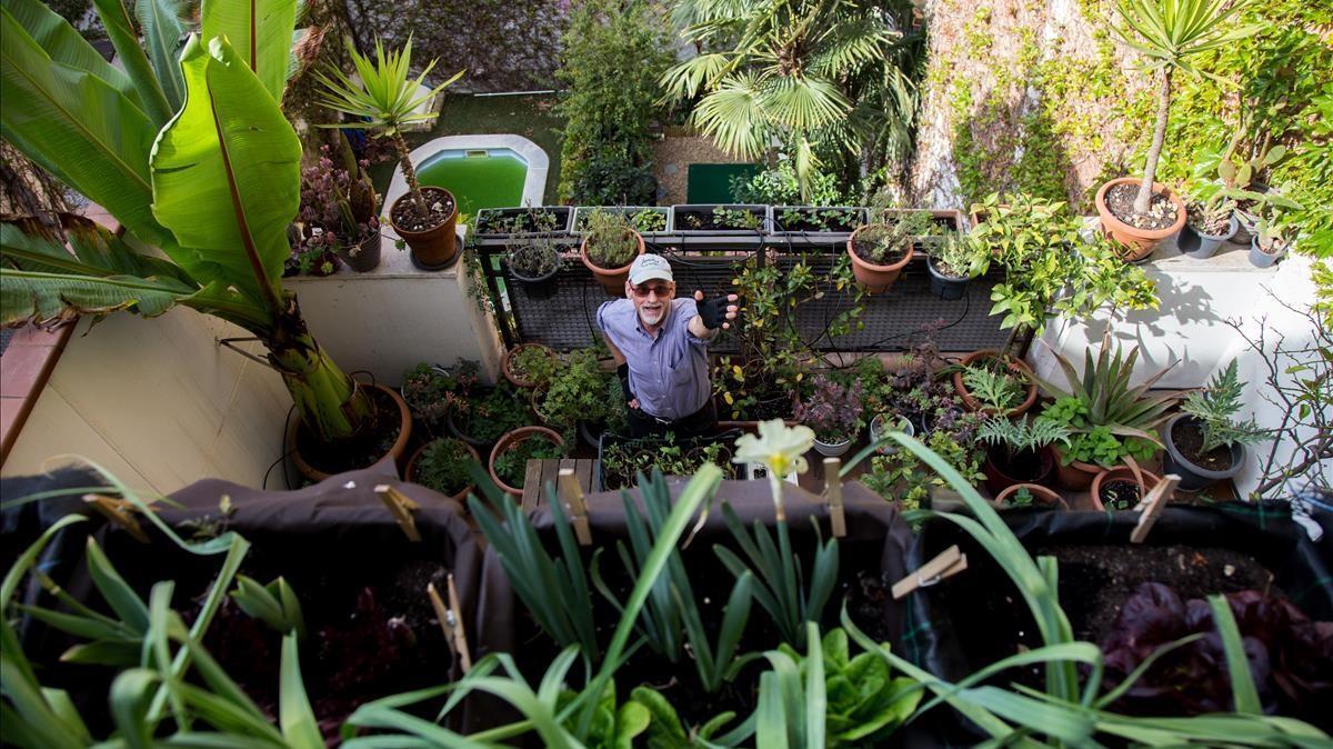 Robert L. Strauss, en una de las terrazas de cultivo de su casa de Gràcia. En total, cosecha 30 metros cuadrados entre tejados.