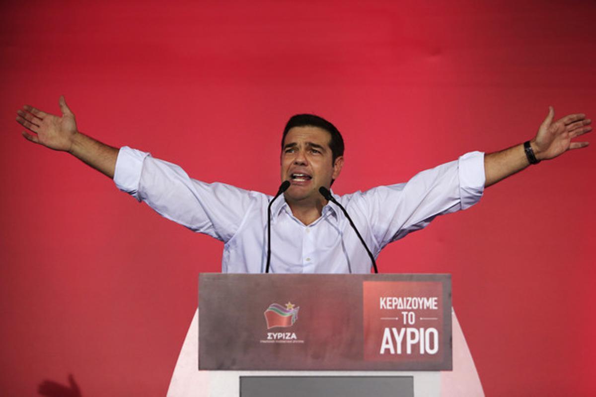 El exprimer ministro griego y líder de Syriza, Alexis Tsipras, en su mitin de cierre de campaña, este viernes.