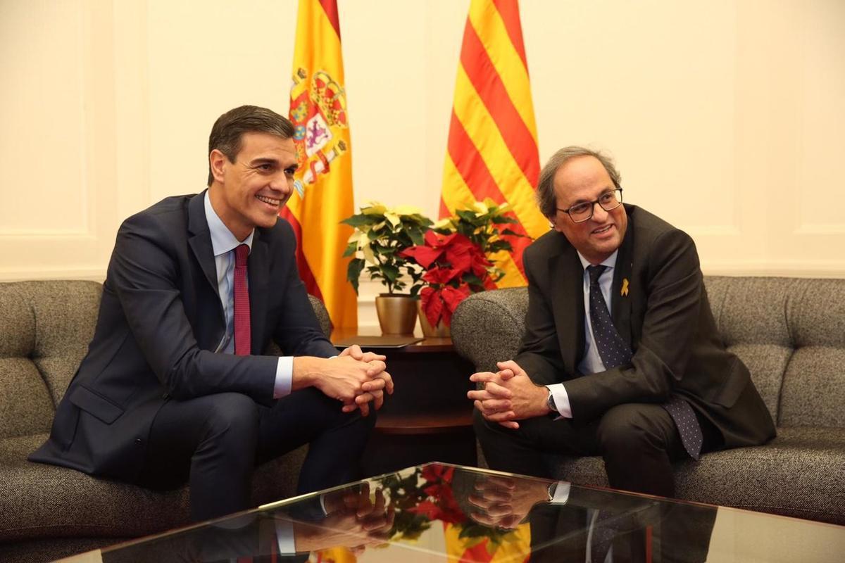 Pedro Sánchez y Quim Torra, el pasado diciembre en Barcelona.