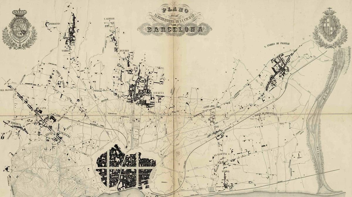 Plano topográfico del llano de Barcelona, obra que Cerdà realizó en 1855