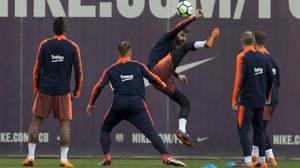 Gerard Piqué, en el entrenamiento previo al Celta-Barça.