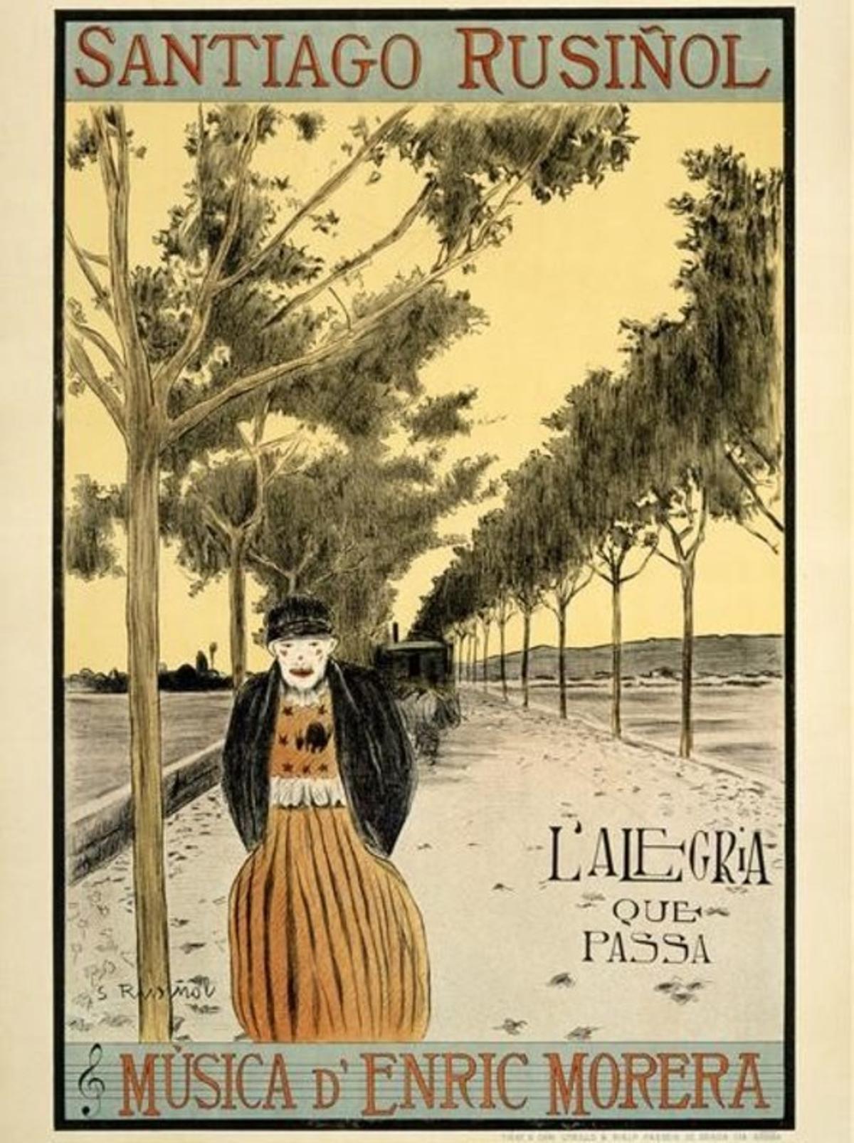 Cartel de 'L'alegria que passa', de Santiago Rusiñol.