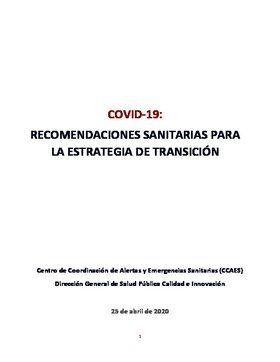 Informe técnico de Sanidad para la estrategia de transición