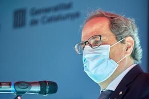 El 'president' de la Generalitat, Quim Torra, durante una rueda de prensa.
