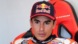 Marc Márquez, en el box del equipo Repsol Honda, en Jerez.