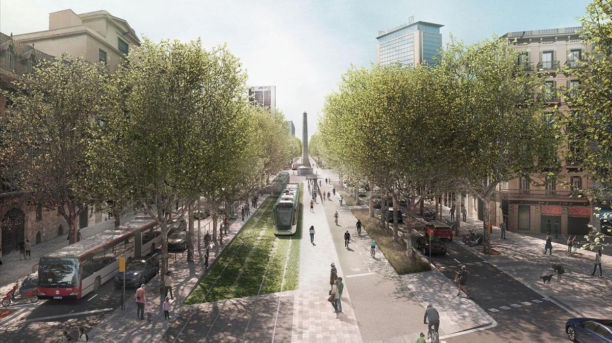 Simulación del trazado del tranvía por la Diagonal, en este caso, a su llegada, en un futuro, a paseo de Gràcia.