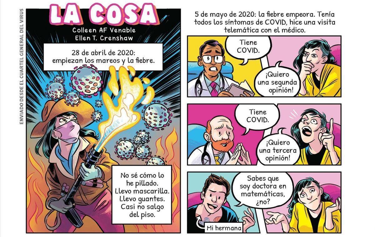 Viñetas de una de las historietas de 'Pandemia'.