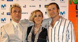 Els integrants del grup Mecano, José María (dreta), Nacho Cano i Ana Torroja, l'any 2005, a Madrid.