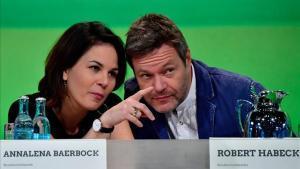 Annalena Baerbock yRobert Habeck, durante un congreso de Los Verdes, en octubre del año pasado.