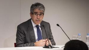 Francesc Homs, en una conferencia en Barcelona, en abril del año pasado.