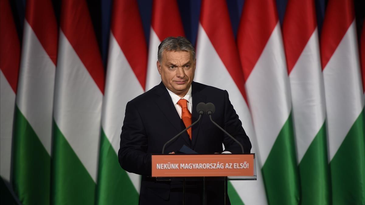 Viktor Orbán, en su mitin en Budapest.