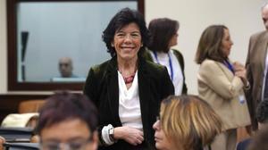 La ministra de Educación yFormación Profesional, Isabel Celaá, hoy en el Congreso de los Diputados.