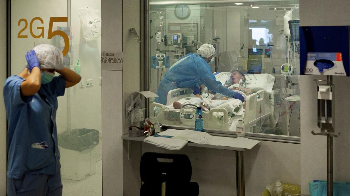 UCI para pacientes covid del Hospital Universitario de Bellvitge.