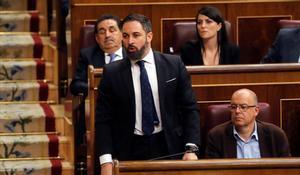 Santiago Abascal, en el Congreso de los diputados durante la sesión constitutiva de las Cortes.